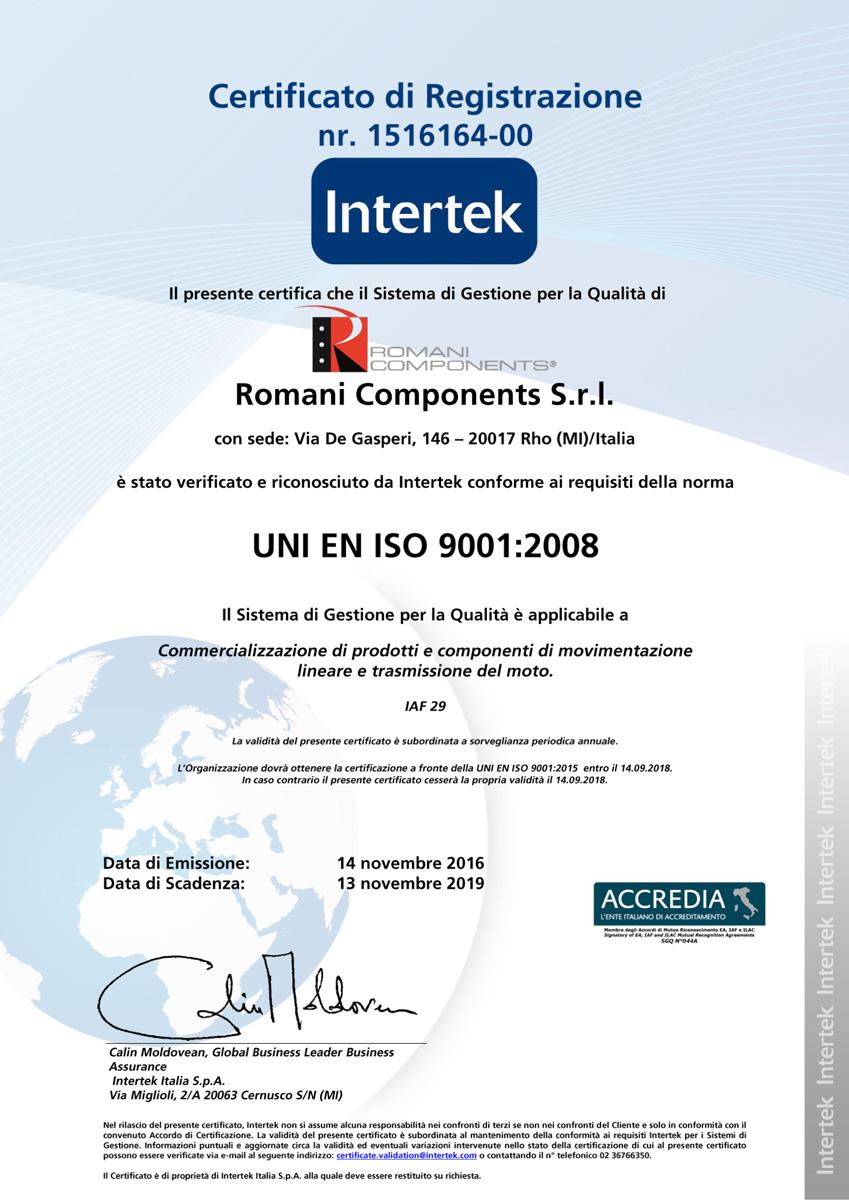 Romani-Components_certificato  Anche Romani Components è finalmente certificata ISO 9001 Romani Components certificato